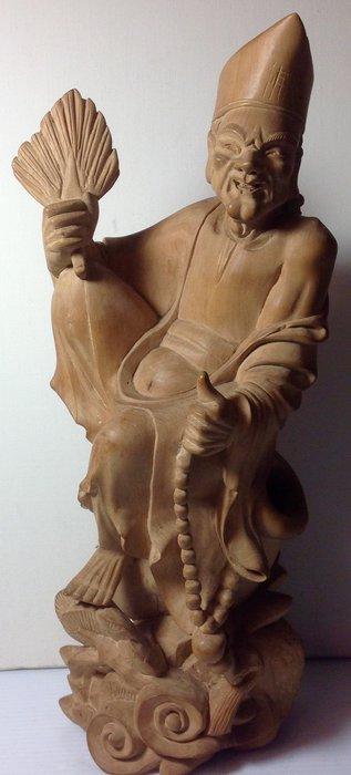 【黑狗兄】黃楊木雕--濟公--高35公分----A8