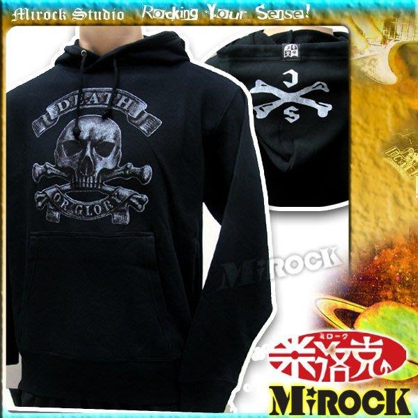 MIROCK米洛克》特賣!日本街牌SAVOY黑色骷髏頭圖案長袖連帽T恤|舒適保暖厚棉|街頭搖滾龐克風格|前方口袋設計