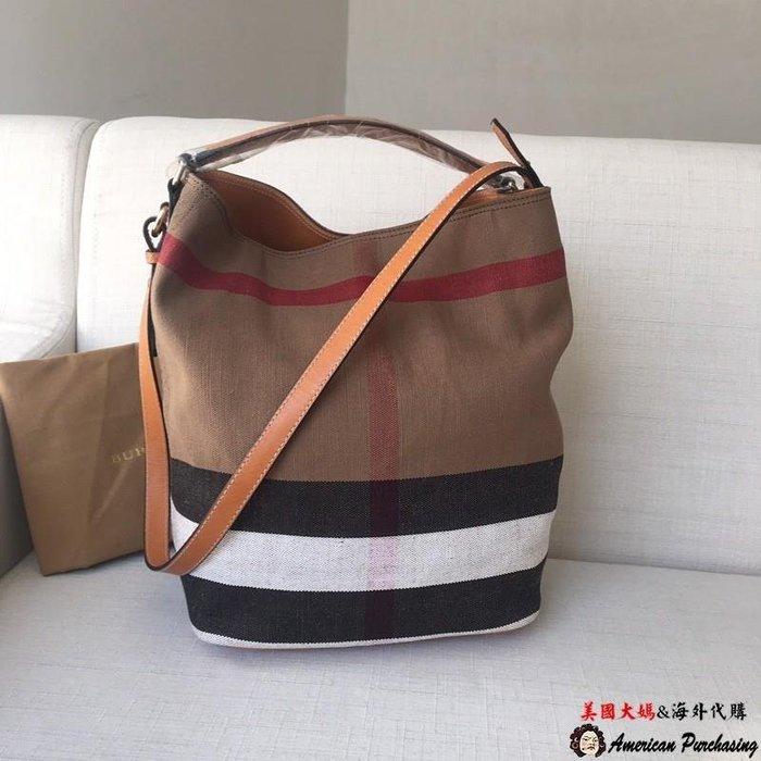 美國大媽代購 Burberry 巴寶莉 英倫風格時尚 經典格紋水桶包 肩背包 手提包 美國outlet代購