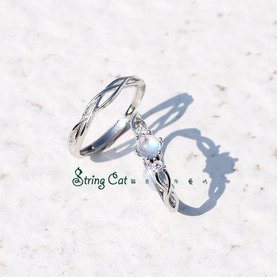 【String Cat】《月光戀人》斯里蘭卡天然月光石純銀戒指 情侶對戒 情人節/閨蜜禮物