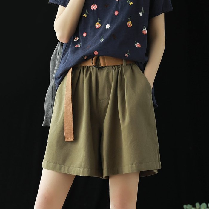 ♥極簡棉麻♥全棉腰帶短褲女夏季新品寬鬆休閑簡約純色鬆緊腰文藝裙褲