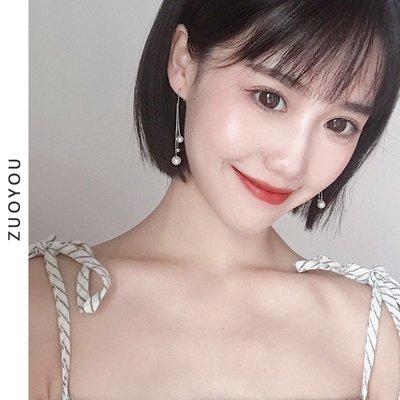 韓版美膩簡約百搭顯瘦款金屬小球珍珠流蘇長款耳環女韓國個性耳夾耳飾1890
