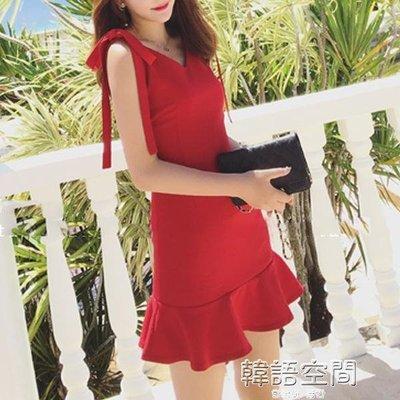 韓版吊帶包臀短裙顯瘦無袖魚尾裙修身紅色洋裝女春