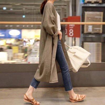 M SELECT 韓版 百搭推薦款 超好看 早秋款 棉麻罩衫 棉麻外套 薄罩衫外 長外套 小編實拍