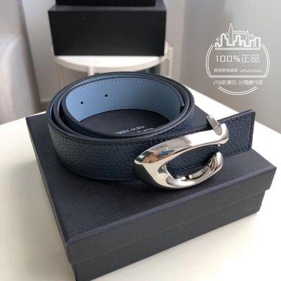 折扣款 全新正品 COACH 30921 女用皮帶 藍色皮革銀釦 ladies belt