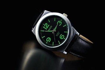 168錶帶配件 /視覺系-潮店熱賣,軍風pilot style飛行風戰鬥機儀錶板,造型石英錶黑色真皮錶帶噴砂殼green
