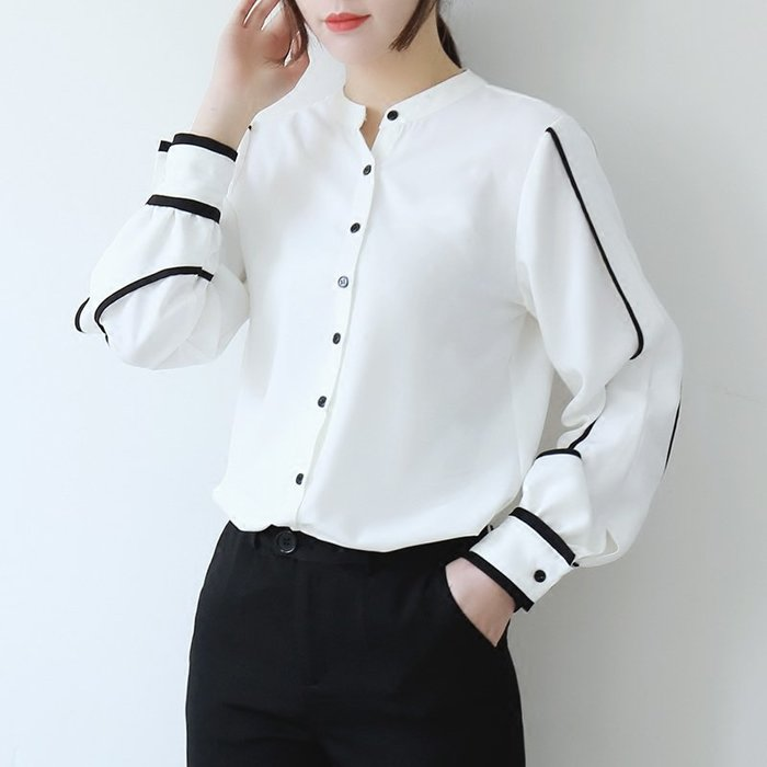 ~Linda~2018新款韓版撞色小立領襯衫女長袖寬鬆百搭時尚雪紡衫上衣