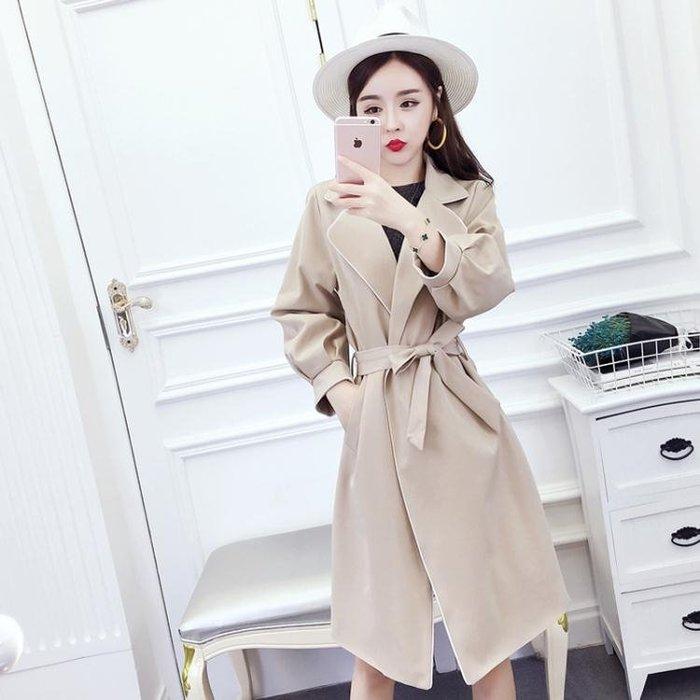 風衣秋裝女新款韓版氣質時尚西裝領綁帶收腰中長款風衣外套開衫女