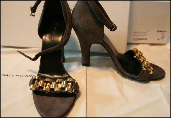 全新BALENCIAGA巴黎世家金屬手錶鍊條繫踝真皮高跟露趾晚宴鞋(原價$26900)