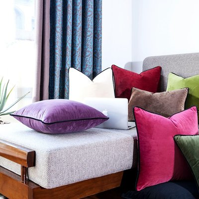 抱枕套 布藝 沙發抱枕套 靠墊純色沙發抱枕靠墊現代簡約絨布靠枕1132汽車靠包腰靠枕含芯
