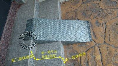 速發~包覆式樓梯專用斜坡板爬坡花紋鍍鋅板~止滑板~台階~走道斜板~不鏽鋼殘障輪椅電動車~平台腳踏板~重型機車~無障礙通道