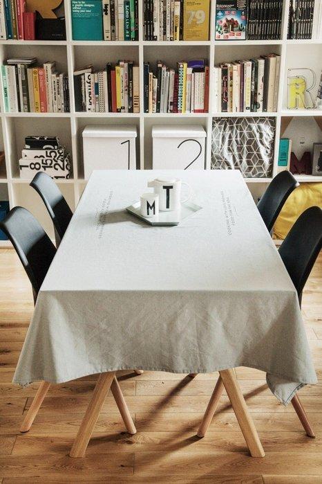 - Meiprunus -原創 設計 北歐 歐美 英文 青灰色 棉麻 餐桌布 桌巾 沙發布(F)136cm*136cm