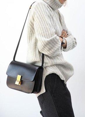 Celine Acorss Body Classic BOX Bag 中型牛皮水波紋肩背包 黑 現貨