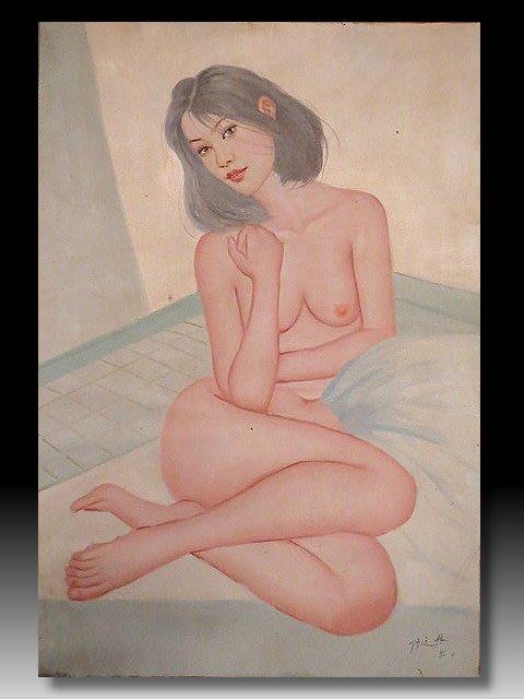 【 金王記拍寶網 】U1212  中國近代油畫名家 陳逸飛款 手繪油畫原作 油畫一張 罕見 稀少 藝術無價~