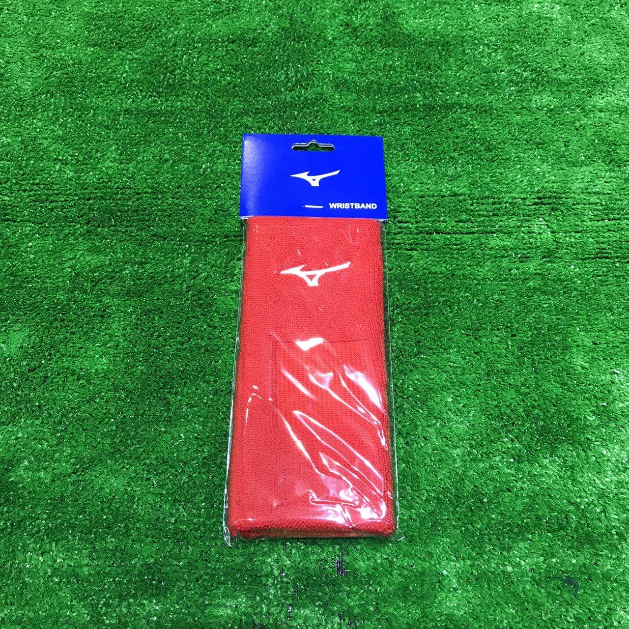 棒球世界全新【美津濃MIZUNO】12ty0y3962一支入包裝毛巾組織 加長護腕特價紅色