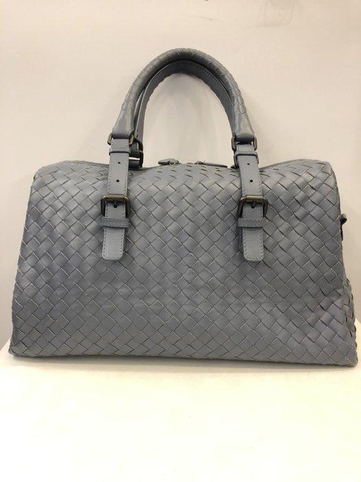 【RECOVER名品二手】Bottega Veneta 灰藍色小羊皮編織包 手提包 100%  BV 真品