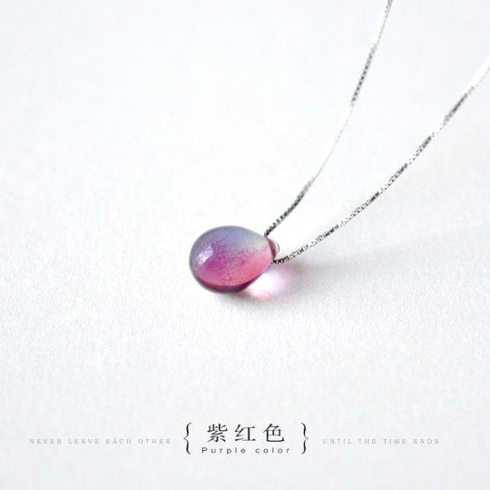 純銀項鏈女白紫水晶鎖骨鏈學生日韓簡約氣質水滴吊墜百搭 GB4323
