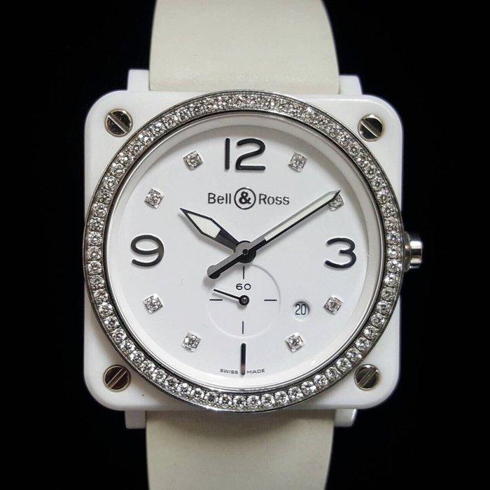 BeII&RoSS 柏萊士 白色 陶瓷 錶徑39mm 石英機芯 原廠穿扣膠帶 原廠鑽石外圈 大眾當舖 編號2078