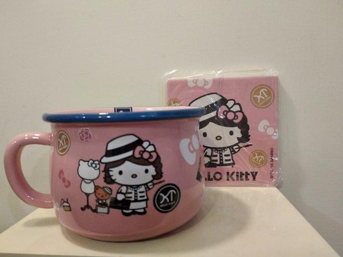 Hello Kitty 凱蒂貓 仿琺瑯造型杯碗組大杯碗+杯墊組 法國時尚風 粉紅色 7-11 三麗鷗變裝 陶瓷杯 泡麵碗