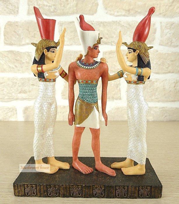 點點蘑菇屋 歐洲精品~彩繪埃及國王與王后站立擺飾 古埃及文明 埃及古文 圖騰 Egypt飾品 藝術品 現貨