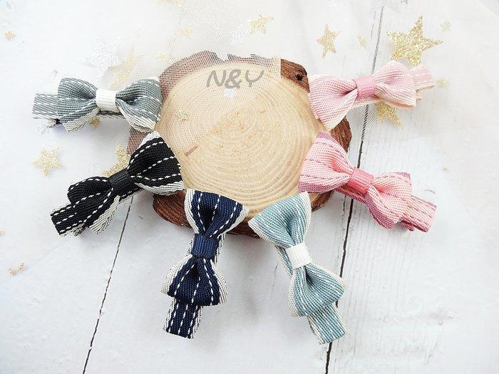 韓國織帶蝴蝶結髮夾邊夾瀏海夾BB夾鴨嘴夾☆【N&Y】HA33【現貨】