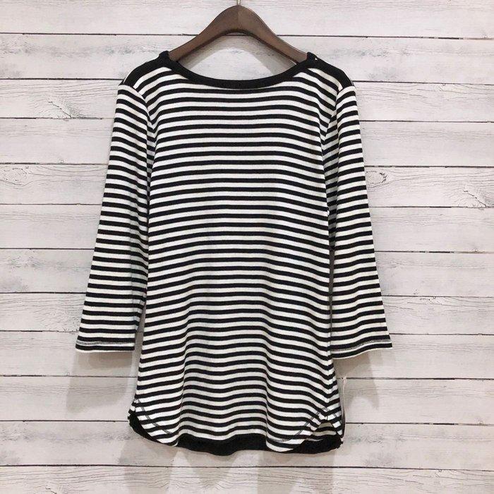 Maple麋鹿小舖 美國品牌 Style & Co * 黑白條紋七分袖T * ( 現貨S號 )