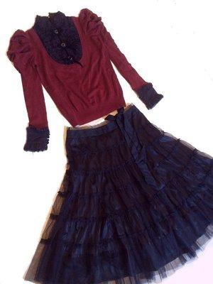 NeeDed ~專櫃設計師品牌~假兩件式宮廷風羊毛衣