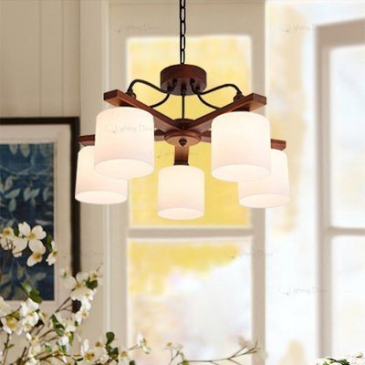 【Lighting.Deco】設計師的燈 MUJI 風格 簡約木質鑄鐵5燈吊燈 客廳 房間吊燈 附電子分段開關