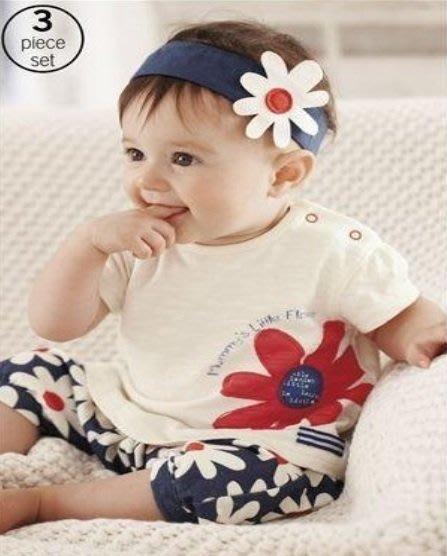 瞳瞳屋-GAP女童藍色花朵3件套装(髮帶,上衣,褲子)-尺碼80.90-清倉,零碼,小瑕疵-特價