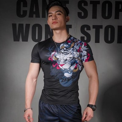 白虎運動緊身衣男訓練短袖T恤跑步彈力吸汗速干透氣健身上衣男夏