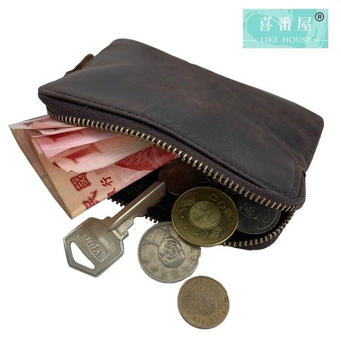 【喜番屋】真皮瘋馬牛皮復古輕薄拉鍊皮夾皮包錢夾零錢包小錢包硬幣包卡片包收納包男夾【LH492】