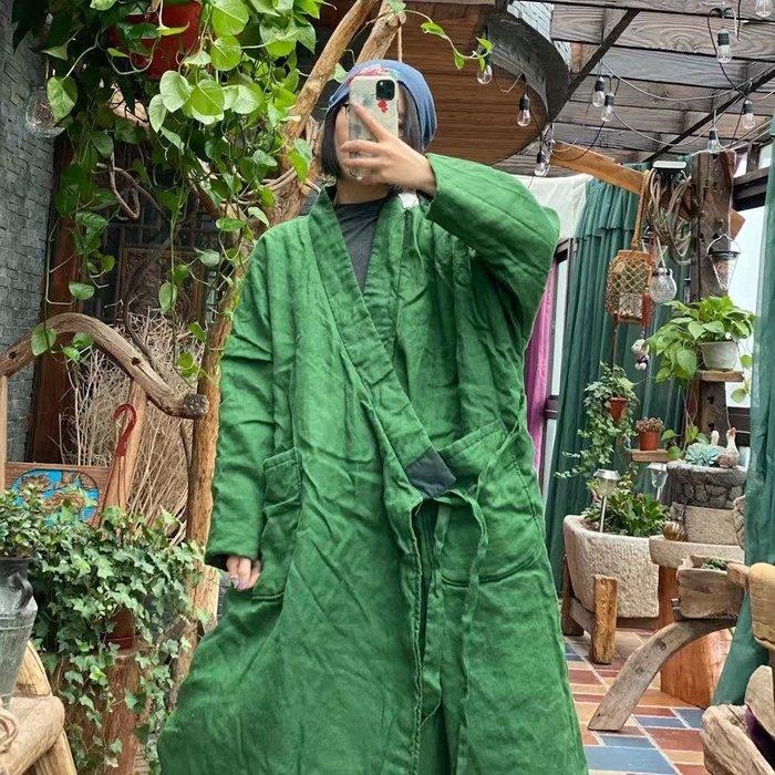 【子芸芳】原創寬鬆繫帶斜襟復古貼布針腳棉衣外套棉袍