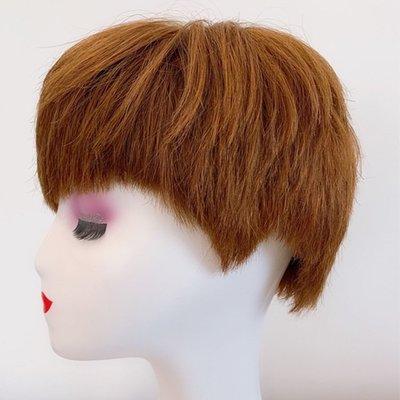 整頂假髮真髮絲短假髮-蓬鬆逼真直髮手織女假髮2色73vr23[獨家進口][米蘭精品]