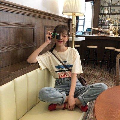 ZIHOPE 女生上裝韓版春裝2019款百搭小汽車圖案印花T恤短袖女復古圓領上衣體恤潮ZI812