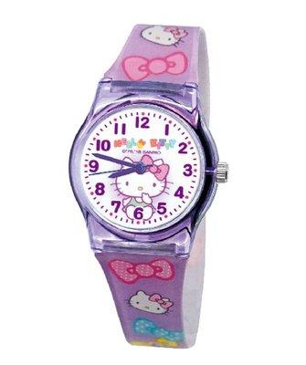 【卡漫迷】 Hello Kitty 膠錶 紫色 ㊣版 台灣製 手錶 兒童錶 女錶 卡通錶 蝴蝶結 凱蒂貓 女孩
