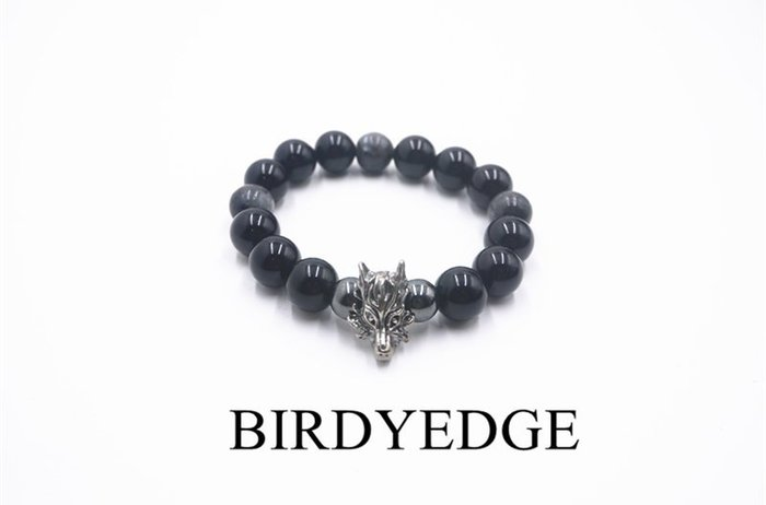 BIRDYEDGE 黑龍設計  全黑麻腦 質感 重量版  手鐲 手環 配件單品  簡約 天然