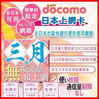 [日本好好玩]3個月 90天 日本上網卡 15GB高用量 4G 吃到飽 送行李秤 DOCOMO sim卡 日本 網卡