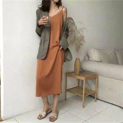 CD265. 素色顯瘦細肩帶洋裝