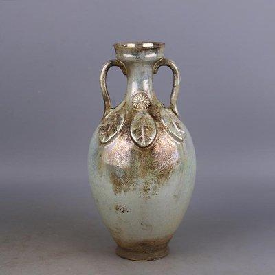【三顧茅廬 】唐代銀光窯金銀釉堆葉子紋雙耳瓶 出土文物古瓷器手工瓷古玩收藏