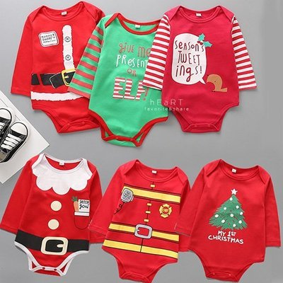 【可愛村】Xmas聖誕棉感長袖包屁衣 童裝 長袖 包屁衣