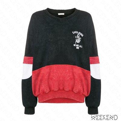 【WEEKEND】 EACH X OTHER 特殊剪裁 寬鬆 長袖 衛衣 大學T 上衣 黑色 紅色 18秋冬