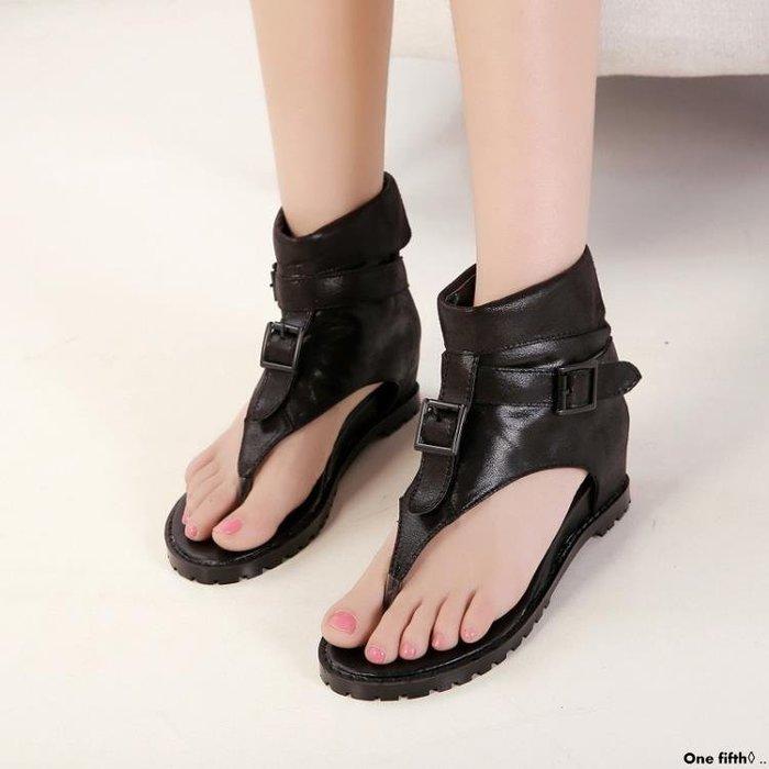 One fifth◊ .. 夏季羅馬平底學生休閒涼鞋皮帶扣高筒夾趾人字坡跟女鞋復古鞋QC230