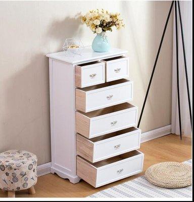 『格倫雅』現代簡約抽屜式收納櫃實木四五鬥臥室床頭雜物整理儲物盒多層整裝(六層 果)^7519