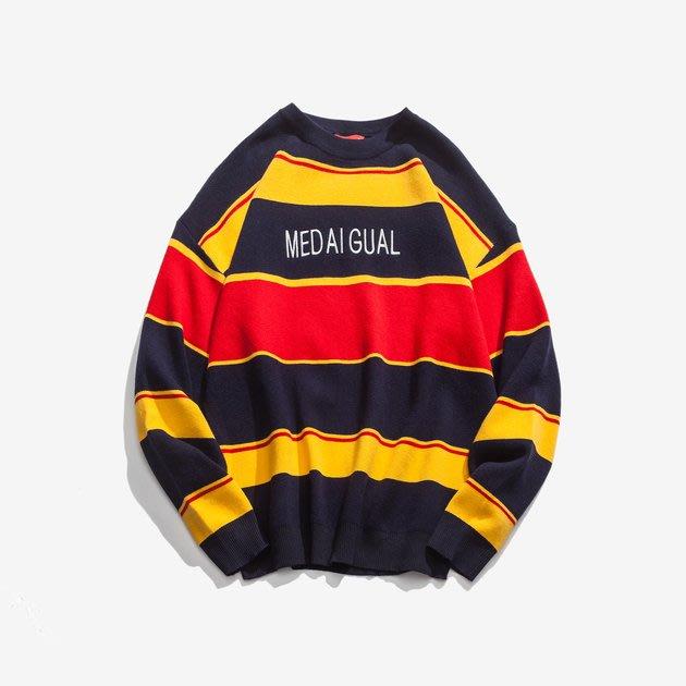 FINDSENSE 2019 秋季上新 G7 撞色條紋素面毛衣 男裝 中性上衣