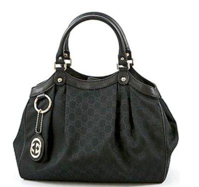全新Gucci 211944 Sukey 雙G壓紋黑色緹花三用包(內附背帶)