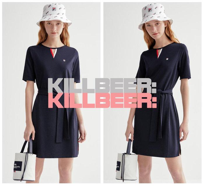 KillBeer:代購✈️✈️韓國熱賣!法國品牌FILA斐樂經典撞色小V簍空運動風舒適棉質綁帶收腰連身洋裝A080503