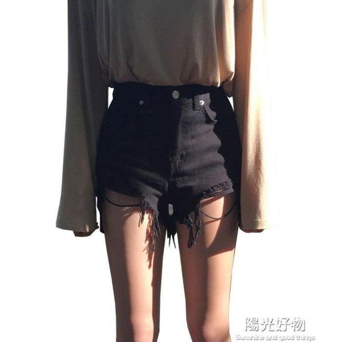 黑色牛仔短褲女夏新款網紅高腰韓版顯瘦外穿寬鬆a字熱褲潮ins