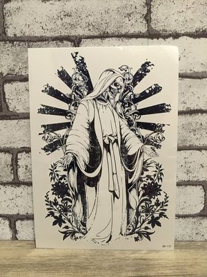 【萌古屋】骷髏耶穌花臂手臂大圖 - 男女防水紋身貼紙刺青貼紙HB-137