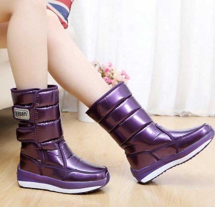 雪靴 加絨雪地靴 女靴中筒防水加厚保暖棉鞋厚底短靴子學生女鞋—莎芭
