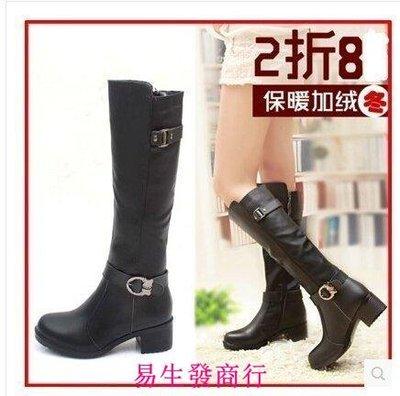 【易生發商行】女鞋冬季高筒靴騎士靴子女冬馬靴真皮女靴中跟長筒靴秋F6175